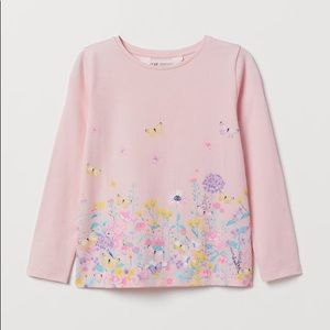 NWT H&M Pink Long Sleeve Butterfly Top 2-4Y